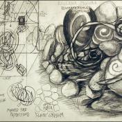 """Installation sketch. Visual Studies Workshop. Graphite on paper. (18"""" X 24"""")"""
