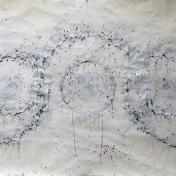 "Graphite powder, matte medium, gravel, pencil shavings, paint on paper. (64"" X 36"")"