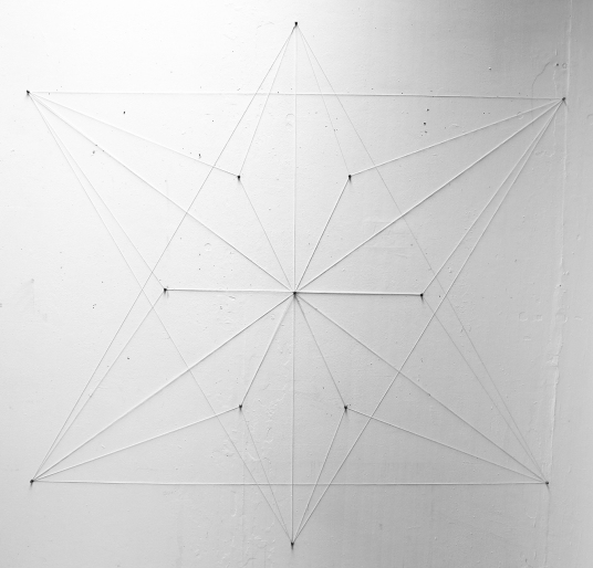 "Thirteen Tensile ""stoppages."" Twine and push pins. (6.5' X 6.5')"